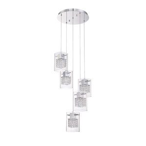 Politan Chrome Five-Light 16-Inch Mini-Pendant