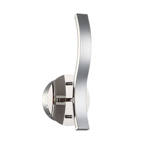Wave Chrome LED Inward Wall Sconce