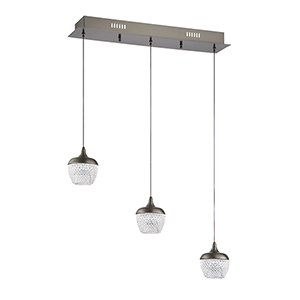 Arika Black Stainless Three-Light LED Linear Pendant