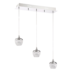 Arika Chrome Three-Light LED Linear Pendant