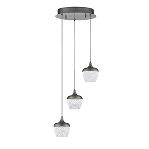 Arika Black Stainless Three-Light LED Pendant