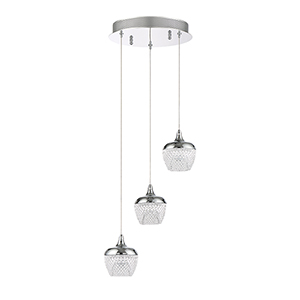 Arika Chrome Three-Light LED Pendant
