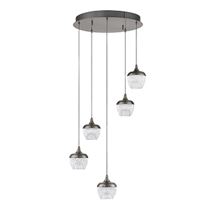 Arika Black Stainless Five-Light LED Pendant