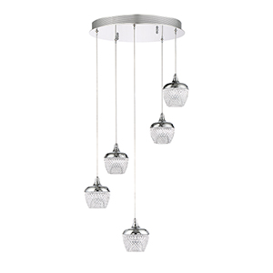 Arika Chrome Five-Light LED Pendant