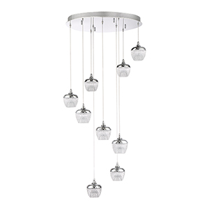 Arika Chrome nine-Light LED Pendant