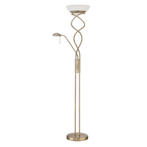 Twist Antique Brass Two-Light Torchiere with Reading Light