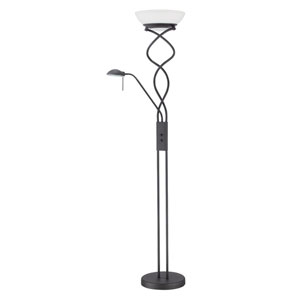 Twist Black Two-Light Torchiere with Reading Light
