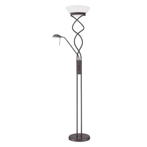 Twist Oil Rubbed Bronze Two-Light Torchiere with Reading Light