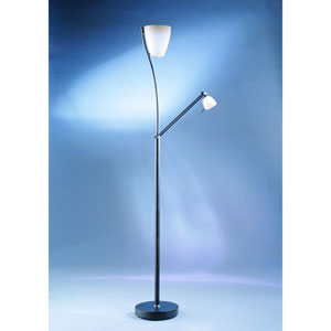 Ibis Oil Rubbed Bronze with Caspian Glass One-Light Torchiere with Reading Light