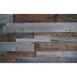 Real Reclaimed Brown and Gray Wood, Mixed Plank Sizes