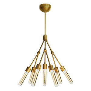 Beaux Arts Brushed Brass Seven-Light Chandelier