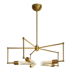 Beaux Arts Brushed Brass 26-Inch Five-Light 30W Chandelier