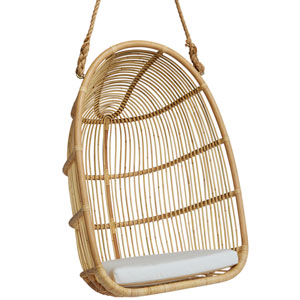 Renoir Natural Outdoor Hanging Swing Chair with Tempotest White Canvas Cushion