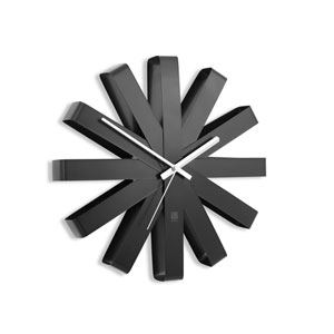 Ribbon Black 12-Inch Wall Clock