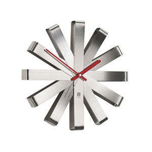 Ribbon Steel 12-Inch Wall Clock