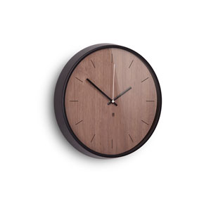 Madera Black and Walnut 12.5-Inch Wall Clock