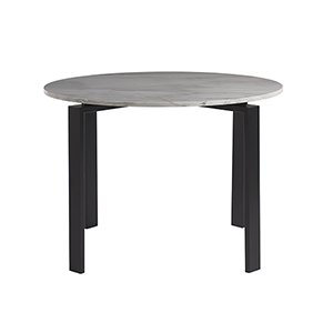 Marshall White and Black Dining Table with White Marble Top