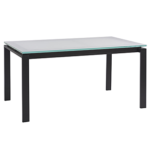 Glass and Black Dining Table with Glass Top