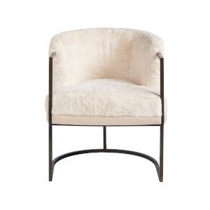 Alpine Dark Bronze and Cream Polyester Accent Chair