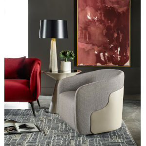Nina Magon Mellow Tweed Upholstery Swivel Chair