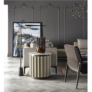 Nina Magon Grey Lacquer Round End Table