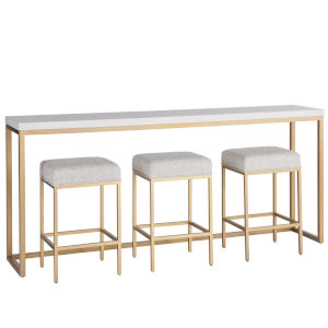 Miranda Kerr Love Joy Bliss Alabaster and Soft Gold Console Table with Stool, 4-Piece