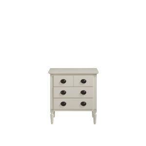 White Three-Drawer Wood Nightstand
