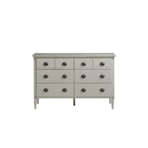 Gray Antiqued Six-Drawer Wood Double Dresser