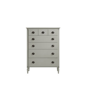 Gray Antiqued Five-Drawer Wood Bedroom Chest