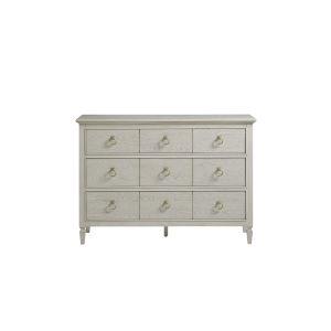 Gray Three-Drawer Wood Dresser