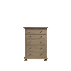 Brown Five-Drawer Tall Wood Bedroom Chest