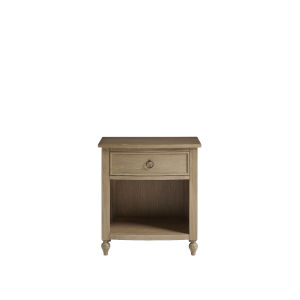 Brown Curved Front One-Drawer Wood Nightstand