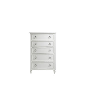 White Curved Front Five-Drawer Wood Tall Bedroom Chest