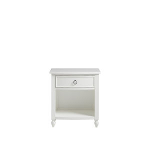 White Curved Front One-Drawer Wood Nightstand
