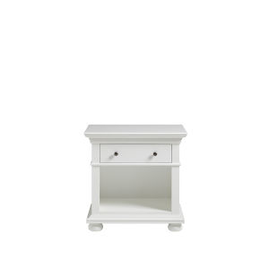White One-Drawer Wood Nightstand