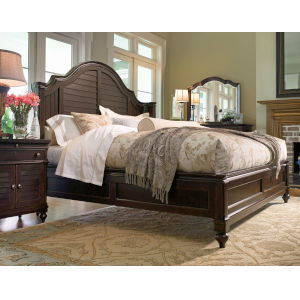 Home Tobacco and Antique Brass Steel Magnolia Cal King Complete Bed