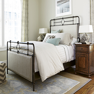 Dogwood Upholstered Metal Complete Queen Bed