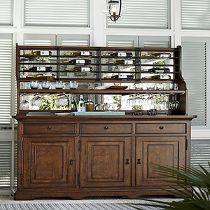 Dogwood Brown Credenza with Wine Rack
