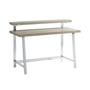 Axis Symmetry Oak and Stainless Steel Desk