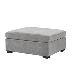 Curated Gray Haven Ottoman