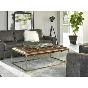 Curated Brown Travers Cocktail Ottoman in Brompton Brown Leather