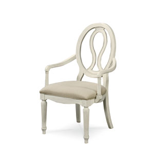 Summer Hill White Pierced Back Arm Chair- Set of Two