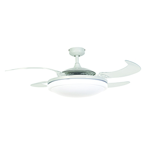 Evo2 White and Transparent 44-Inch Three-Light Ceiling Fan With Acrylic Blades and Light Kit