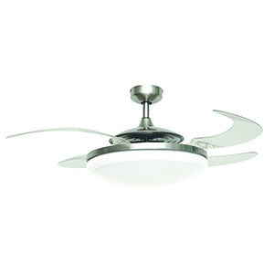 Evo2 Brushed Chrome and Transparent 44-Inch Three-Light Ceiling Fan With Acrylic Blades and Light Kit