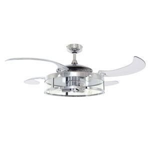 Fanaway Chrome and Transparent LED Three-Lights Ceiling Fans