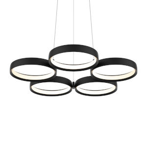 Black Five-Light LED Ring Pendant