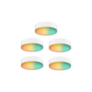 White RGB Under Cabinet LED Puck Light, Pack of 5