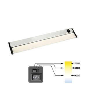 CCT Linear Satin Nickel 12-Inch 27K-4K LED Under Cabinet Strip Light