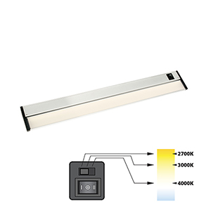CCT Linear Satin Nickel 24-Inch 27K-4K LED Under Cabinet Strip Light
