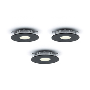 Superpuck Black LED Under Cabinet Recessed Puck Light Kit (Set of 3)